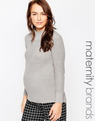 Mama Licious Mamalicious High Neck Maternity Jumper Grey