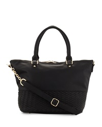 Neiman Marcus Woven Large Satchel Bag Black