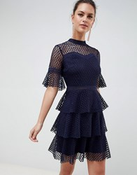 Liquorish Layered Lace Dress With Flare Sleeve Navy