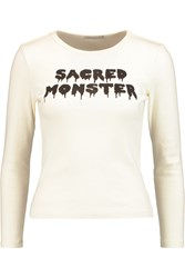 Ag Jeans Alexa Chung Sacred Monster Printed Cotton Jersey Top White
