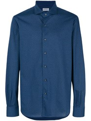 Orian Patterned Button Shirt Blue