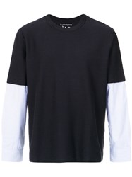 A La Garconne Layered Long Sleeves T Shirt Cotton Polyester Gg Blue