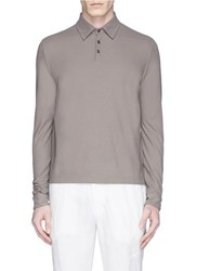 Incotex Ice Cotton Fine Knit Polo Shirt Neutral Brown