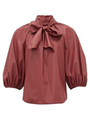 Rebecca Taylor Neck Tie Faux Leather Blouse Burgundy