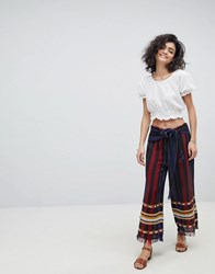 Intropia Striped Trousers Black Print Multi