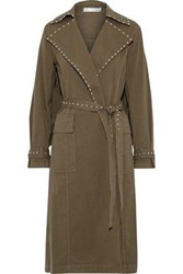 Robert Rodriguez Studded Cotton Blend Twill Trench Coat Army Green