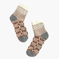 Madewell Tapestry Mix Ankle Socks Brown Cream