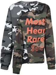 Mostly Heard Rarely Seen Layered Effect Camouflage Sweatshirt Green