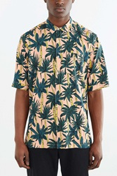Your Neighbors Rayon Palm Tree Button Down Shirt Green Multi