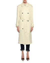 Tom Ford Double Breasted Linen Blend Trenchcoat Cream