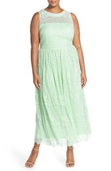 Plus Size Women's London Times Embellished Neck Lace Gown Mint