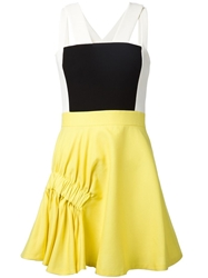 Viktor And Rolf Colour Block Flared Dress Yellow And Orange