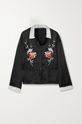 Morgan Lane Sawyer Embroidered Satin Pajama Shirt Black