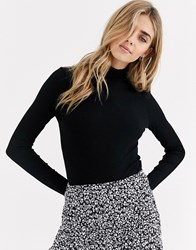 Miss Selfridge Rib Tee With Funnel Neck In Black