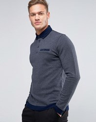 Ted Baker Longsleeve Polo With Contrast Collar Charcoal Grey
