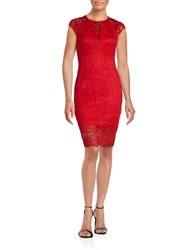 Guess Cap Sleeve Lace Sheath Dress Red