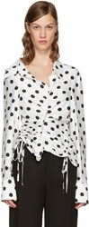 Jacquemus White And Black Polka Dot La Chemise Rose Blouse