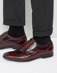 Base London Harold Hi Shine Leather Brogues Red