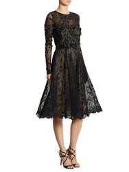 Rickie Freeman For Teri Jon Appliqued Lace Fit And Flare Dress Black