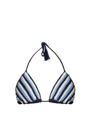 Anna Kosturova Crochet Striped Triangle Bikini Top Blue White
