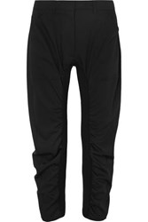 Stella Mccartney Tina Ruched Wool Twill And Cotton Blend Pants Black