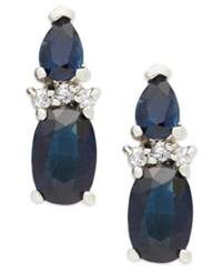 Macy's Sapphire 1 9 10 Ct. T.W. And Diamond Accent Earrings In 14K White Gold Blue