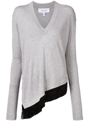 Derek Lam 10 Crosby Fringed V Neck Asymmetric Sweater Grey