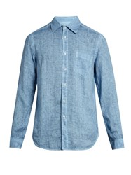 120 Lino Button Cuff Linen Shirt Blue