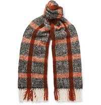 Mr P. Fringed Checked Textured Knit Scarf