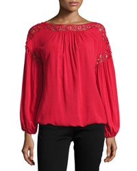 Max Studio Lace Trim Blouson Top Red