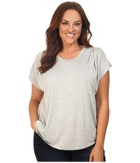 B Collection By Bobeau Curvy Plus Size Nora Scoop Neck T Shirt Heather Grey Women's T Shirt Gray