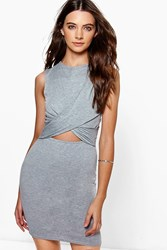 Boohoo Wrap Front Cut Out Bodycon Dress Grey