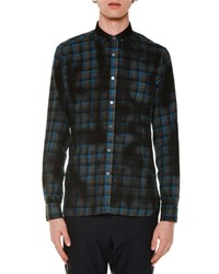 Lanvin Oversized Plaid Long Sleeve Sport Shirt Blue Men's