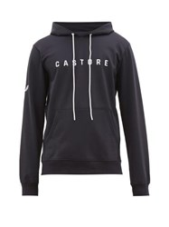 Castore Garcia Waterproof Logo Print Hooded Sweatshirt Navy White