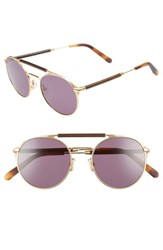 Shwood Bandon 52Mm Round Sunglasses Matte Gold Walnut Grey Matte Gold Walnut Grey