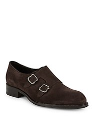 Brioni Blake Suede Double Monk Dress Shoes Coffee