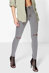 Boohoo High Waisted Tube Jeans With Rips Grey