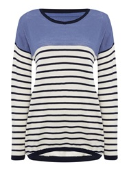 Linea Stripe Crew Perforated Jumper Navy