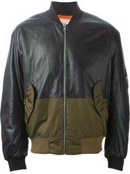 Mcq By Alexander Mcqueen Mcq Alexander Mcqueen Panelled Leather Bomber Jacket Black