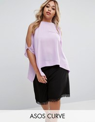 Asos Curve Kimono Tee With Cold Shoulder Lilac Purple