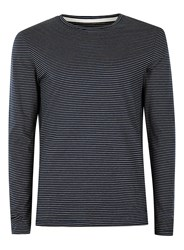 Selected Blue Homme Navy And White Stripe Long Sleeve T Shirt