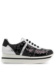 Tosca Blu Sequinned Platform Sneakers Black
