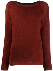 Avant Toi Ribbed Knit Detail Sweater Red