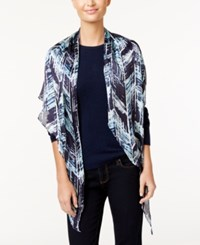 Vince Camuto Herringbone Textures Oblong Scarf Evening Blue