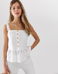 Parisian Button Down Cami Top With Peplum Hem In Broderie White