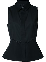 Alexander Wang Sleeveless Peplum Shirt Black