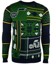Forever Collectibles Men's Utah Jazz Patches Christmas Sweater Green