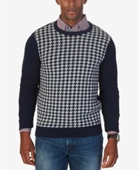Nautica Men's Colorblocked Houndstooth Sweater Only At Macy's Navy