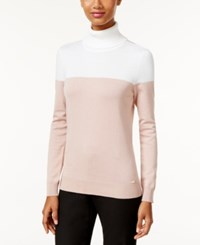 Calvin Klein Colorblocked Turtleneck Sweater White Blush
