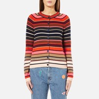 Paul Smith Women's Stripe Cardigan Red Pink Red Pink